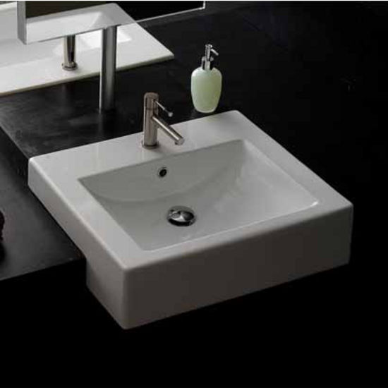 nameeks square d semi recessed bathroom sink in white, Bathroom decor