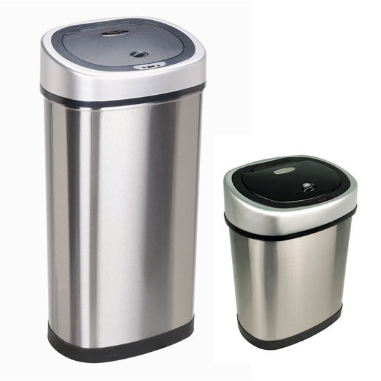 Nine Stars 50 Liters (13.2 Gallons) and 12 Liters (3.2 Gallons) Infrared Motion Sensor Trash Can Combo in Stainless Steel