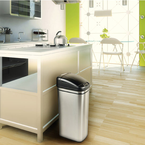 11-Gallon Brushed Stainless Steel Infrared Trash Can