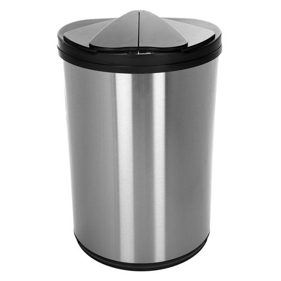 Nine Stars 47 Liters (12.4 Gallons) Infrared Motion Sensor Trash Can in Silver Black / Stainless Steel, 16-3/5'' W x 10-29/32'' D x 26-1/5''