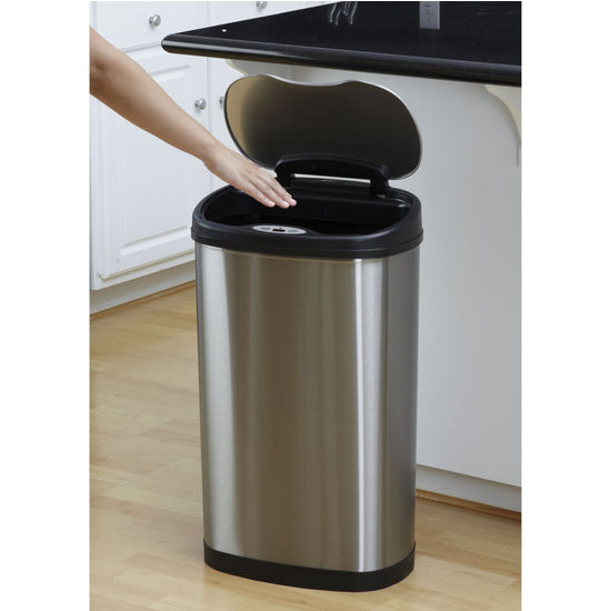 Stainless Steel Kitchen Trash Cans: Nine Stars 13.2 Gallon Stainless Steel