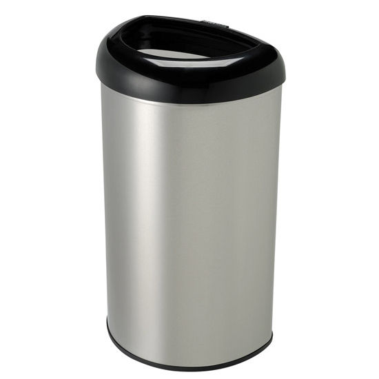 Nine Stars 50 Liters (13.2 Gallons) Open Top Trash Can in Black / Stainless Steel, 14-29/32'' W x 11-29/32'' D x 26-5/16'' H