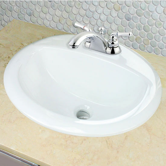 "Nantucket Sinks Great Point Collection 20-1/4"" Self Rimming Drop-In Oval Ceramic Vanity Bathroom Sink in White with Overflow, 20-1/4"" Diameter x 17-1/4"" D, 8-1/4"" Bowl Depth"