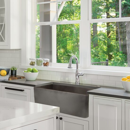 "Nantucket Sinks Vineyard Collection 30"" Farmhouse Fireclay Sink with Concrete Finish, 29-3/4"" W x 19-3/4"" D x 10"" H"