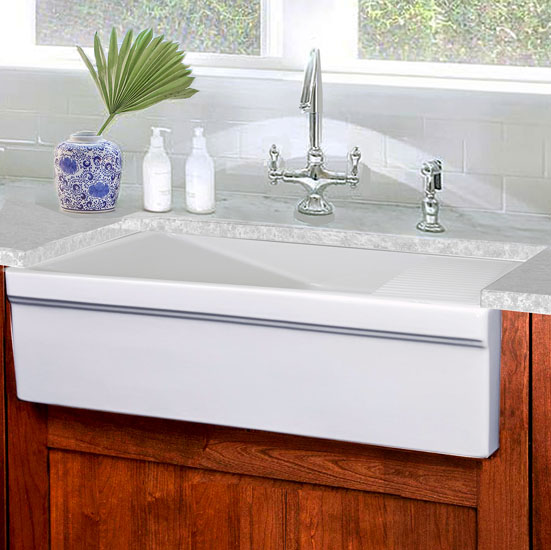 "Nantucket Sinks Cape Collection 36"" Italian Farmhouse Fireclay Sink with Built-In Drainboard in Porcelain Enamel Glaze White, 36"" W x 20"" D x 10"" H"