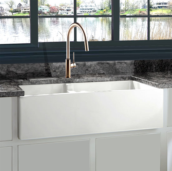 "Nantucket Sinks Cape Collection 60/40 Double Bowl Farmhouse Apron Fireclay Sink in Porcelain Enamel Glaze White, 35-1/2"" W x 17-1/2"" D x 9-3/4"" H"
