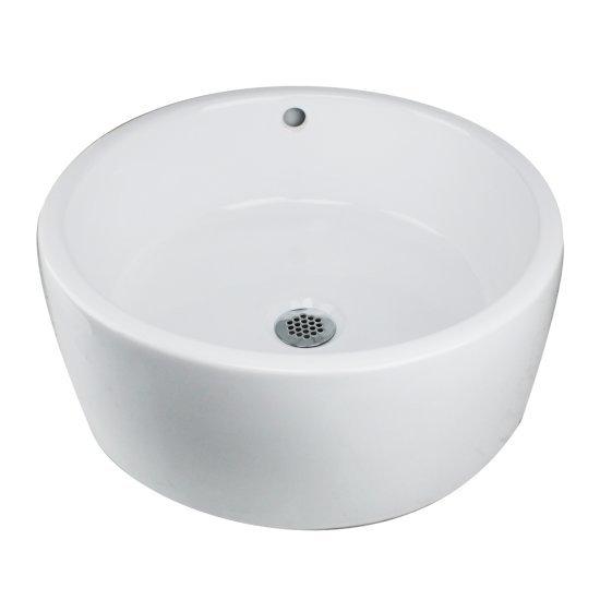 Nantucket Sinks Round White Vessel Sink With Overflow