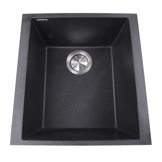 """Nantucket Sinks Plymouth Collection 17"""" Single Bowl Undermount Granite Composite Bar-Prep Sink in Black, 16-1/8"""" W x 17"""" D x 8-1/4"""" H"""