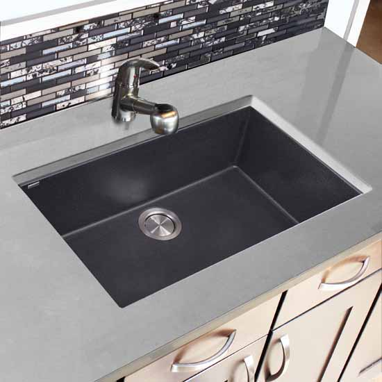 "Nantucket Sinks Plymouth Collection Large Single Bowl Undermount Granite Composite Black Sink, 30""W x 17-3/4""D x 8-1/4""H"