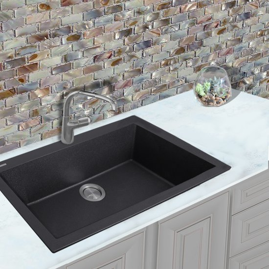 Plymouth Collection Single Bowl Undermount Granite Composite Kitchen ...