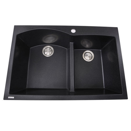 "Nantucket Sinks Plymouth Collection 60/40 Double Bowl Dual-Mount Granite Composite Kitchen Sink in Black, 33"" W x 22"" D x 9-7/8"" H"