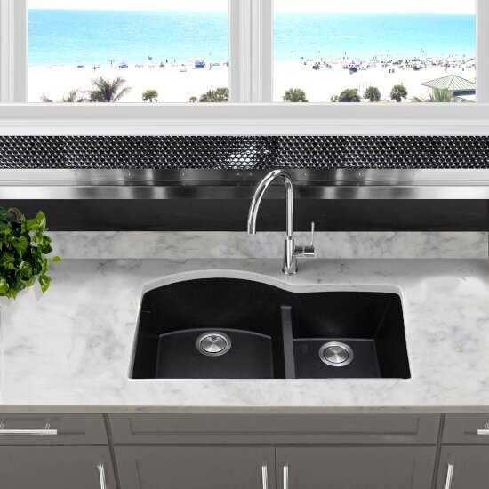 """Nantucket Sinks Plymouth Collection 60/40 Double Bowl Undermount Granite Composite Kitchen Sink in Black, 33"""" W x 20-1/2"""" D x 9-7/8"""" H"""