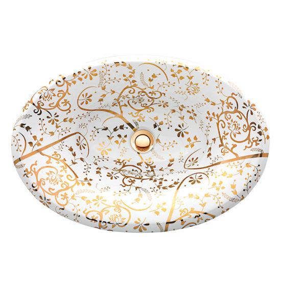 "Nantucket Sinks Regatta Collection St. John Italian Fireclay Vanity Bathroom Sink in Glazed White/Gold, 25"" Diameter x 17-1/4"" D x 8"" H"