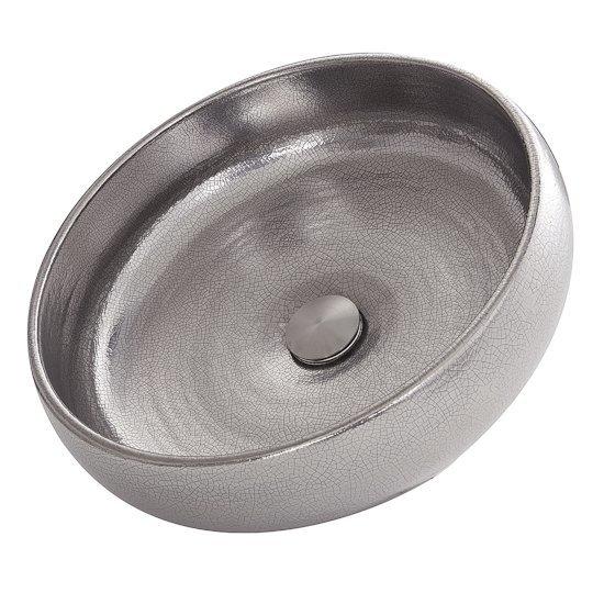 "Nantucket Sinks Regatta Collection Monte Carlo Italian Fireclay Vanity Bathroom Sink in Glazed Platinum, 15-1/2"" Diameter x 5"" H"