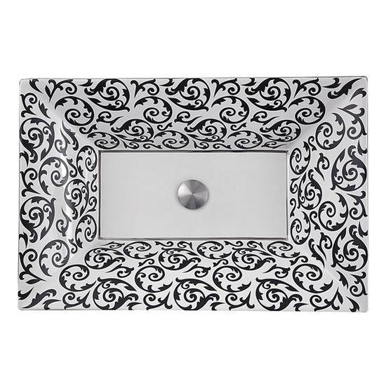 "Nantucket Sinks Regatta Collection La Maddalena Italian Fireclay Vanity Bathroom Sink in Glazed White/Black/Platinum, 24-1/4"" W x 16-1/2"" D x 5-1/2"" H"