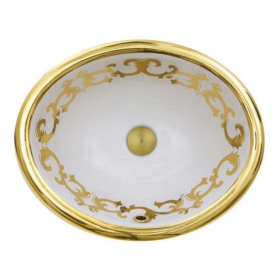 "Nantucket Sinks Regatta Collection Sanremo Italian Fireclay Vanity Bathroom Sink in Glazed White/Gold, 19-1/2"" Diameter x 16"" D x 8"" H"