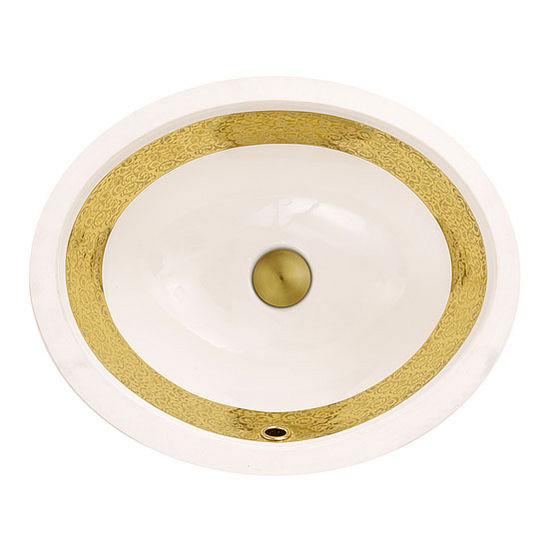 "Nantucket Sinks Regatta Collection Anzio Italian Fireclay Vanity Bathroom Sink in Glazed White/Gold, 18-3/4"" Diameter x 15-1/2"" D x 8"" H"