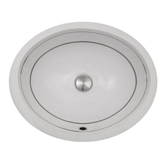 "Nantucket Sinks Regatta Collection Izola Italian Fireclay Vanity Bathroom Sink in Glazed White/Platinum, 18-3/4"" Diameter x 15-1/2"" D x 8"" H"