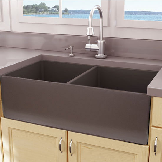 "Nantucket Sinks Cape Collection 33"" Double Bowl Farmhouse Fireclay Front Apron Kitchen Sink in Coffee Brown, 33-1/4"" W x 18"" D x 10"" H"