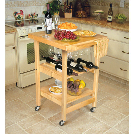 Entertainer Folding Wood Kitchen Cart by Oasis