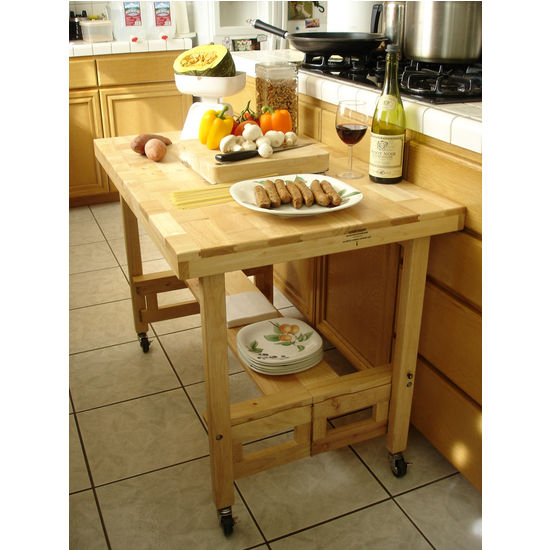 Kitchen Islands All Wood Serving Buffet With Foldable