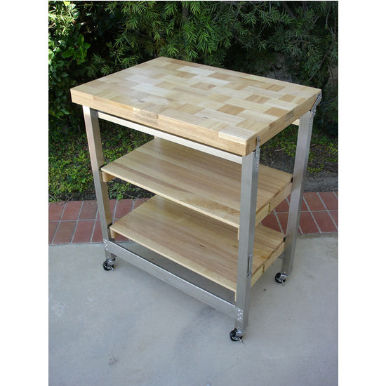 Flip and Fold Kitchen Island with Stainless Steel Frame and Hardwood Top by Oasis