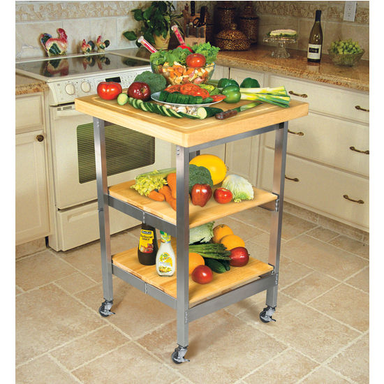 Stainless Steel Folding Kitchen Cart with Hardwood Top by Oasis