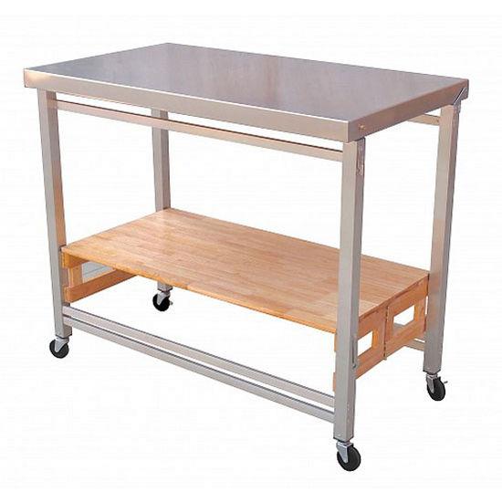 Kitchen Island Frame: OA-KK-2001P-SS X-Large Folding Kitchen Island With Stainless Steel Frame/Natural Hardwood Shelf