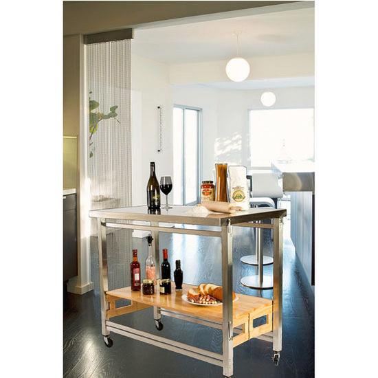 oa kk 2001p ss x large folding kitchen island with stainless steel frame natural hardwood shelf. Black Bedroom Furniture Sets. Home Design Ideas