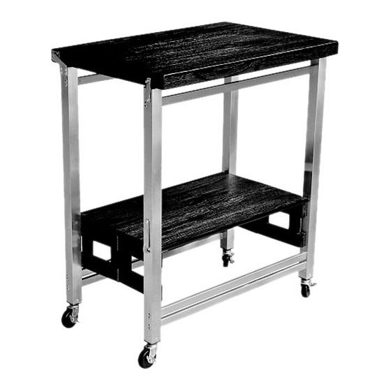 Kitchen Island Frame: OA-KK-2001T3 Flip & Fold Kitchen Island With Stainless Steel Frame/Textured Wood In Espresso Or