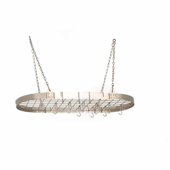 Oval Hanging Pot Rack w/ Grid, Chain & Hooks