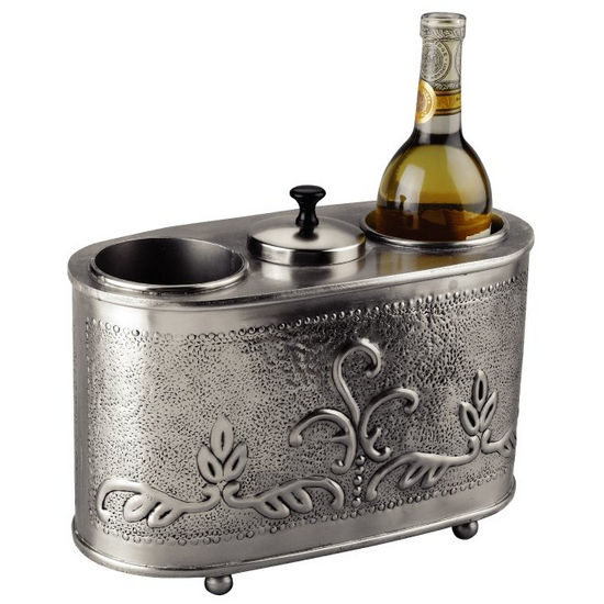 Old Dutch Antique Embossed Pewter 2 Bottle Wine Chiller