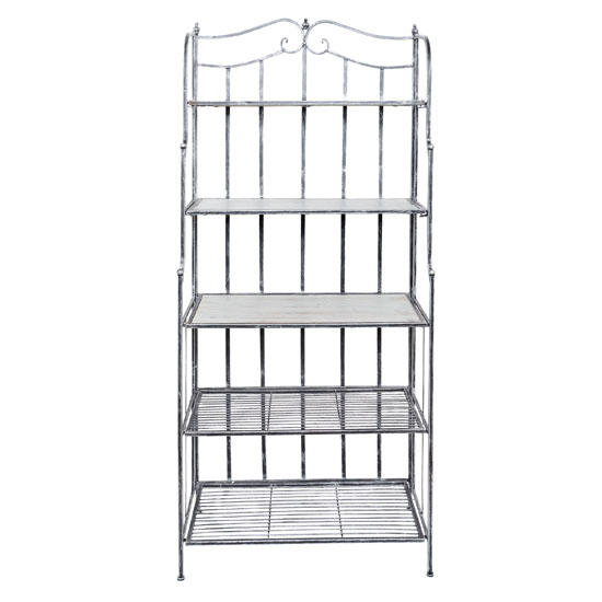 Old Dutch Montclair Baker's Rack in Antique Pewter and Barnwood Gray Finish