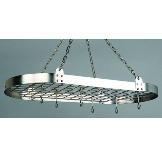Oval Hanging Pot Rack w/ Grid, Chain & Hooks