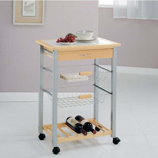 Pinewood Kitchen Cart with 2 Baskets