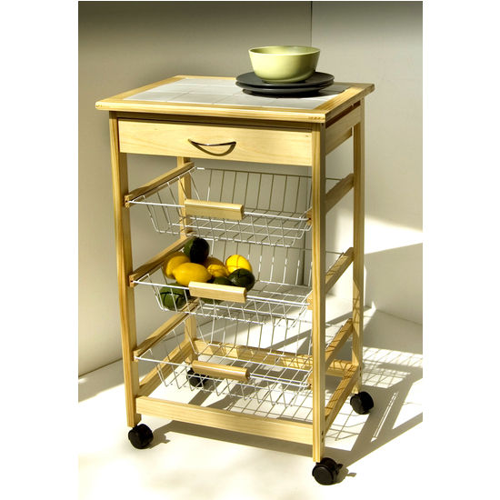 Pinewood Kitchen Cart With 3 Baskets