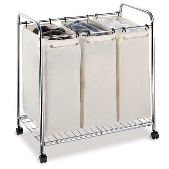 Hamper Canvas Rolling Triple Sorter Laundry Hamper From