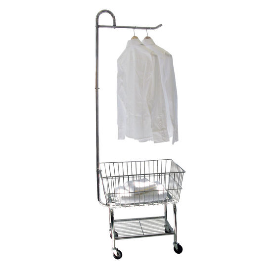 Rolling Chrome Laundry Cart w/ Garment Rack