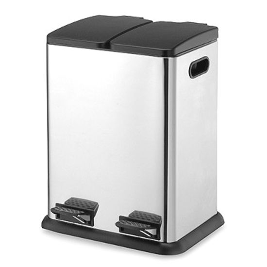 40 Liter Stainless Steel Dual Compartment Step-on Trash Can