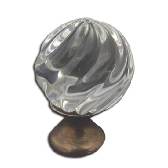Premier Hardware Designs Crystal Knob Collection 1-3/8'' Diameter Traditional Clear Crystal Knob Grooved Design with Solid Pewter Base in Shiny Pewter, 1-3/8'' Diameter x 1-1/4'' D x 1-1/4'' H