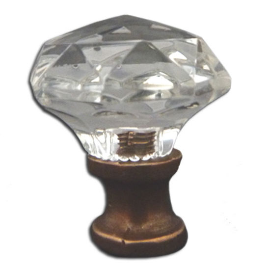 Premier Hardware Designs Crystal Knob Collection 1-1/4'' Diameter Traditional Clear Round Faceted Knob With Solid Pewter Base in Shiny Pewter, Available in Multiple Base Finishes