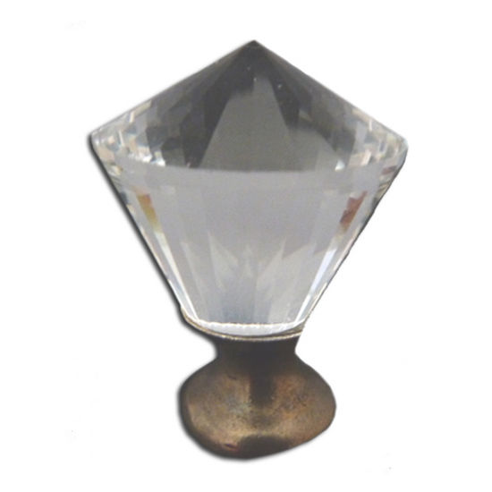 Premier Hardware Designs Crystal Knob Collection 1-1/4'' Diameter Traditional Clear Octagon Shaped Knob with Solid Pewter Base in Shiny Pewter, 1-1/4'' Diameter x 1-7/16'' D x 1-7/16'' H