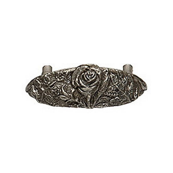 Premier Hardware Designs The Flower Patch Collection 4-1/2'' W Traditional Rose Cup Pull in Shiny Pewter, Available in Multiple Finishes