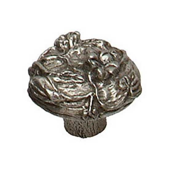 Premier Hardware Designs The Flower Patch Collection 1-1/4'' Diameter Traditional Round Morning Glory Knob in Shiny Pewter, Available in Multiple Finishes