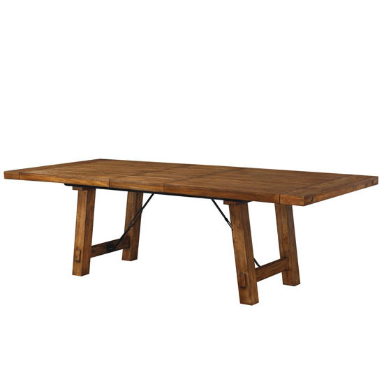 Mansfield weathered plank wood dining table in honey for Dining table support