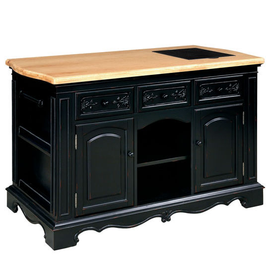 Pennfield Kitchen Island Amp Stool In Distressed Black Base
