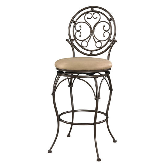 Big And Tall Scroll Circle Back Stool In Bronze Available