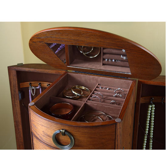 Elegant Jewelry Armoire In Burnished Oak Or Cherry With