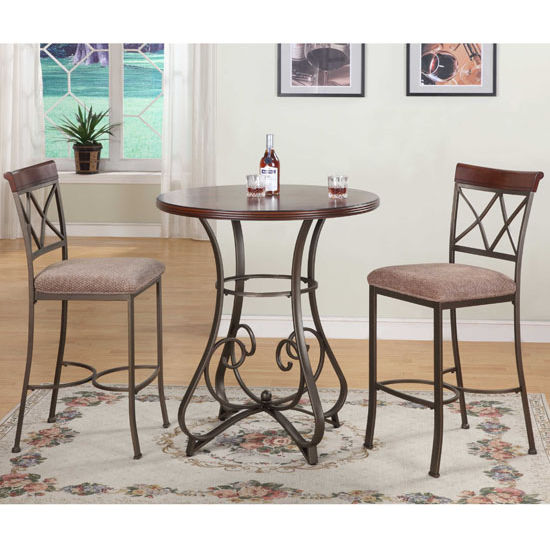 3-Pc.Hamilton Pub Table Set  sc 1 st  KitchenSource.com & Hamilton 3-Pc Pub Table Set in Brushed Faux Medium Cherry Wood ...