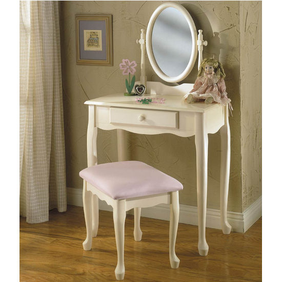 White Vanity/Mirror/Bench Set